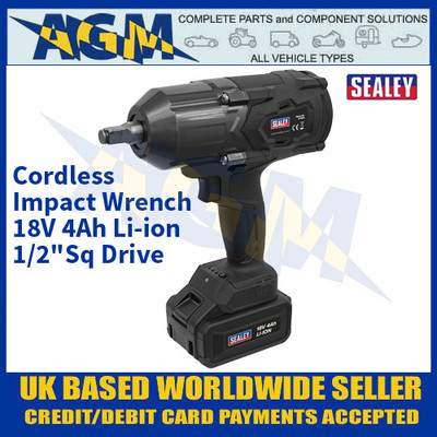 "Sealey CP1812 Cordless Impact Wrench 18V 4Ah Li-ion 1/2""Sq Drive"