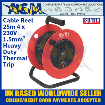 Sealey CR25/1.5 Cable Reel 25m 4 x 230V 1.5mm² Heavy-Duty Thermal Trip