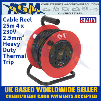 Sealey CR22525 Cable Reel 25m 4 x 230V 2.5mm² Heavy-Duty Thermal Trip