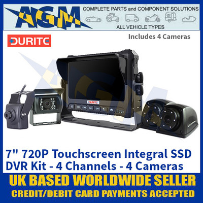 "Durite 0-774-03 7"" 720P Touchscreen Integral SSD DVR Kit - 4 Channels - 4 Cameras"