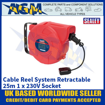 Sealey CRM251 Cable Reel System Retractable 25m 1 x 230V Socket