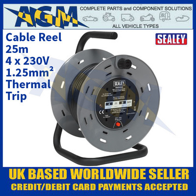 Sealey BCR25 Cable Reel 25m 4 x 230V 1.25mm² Thermal Trip