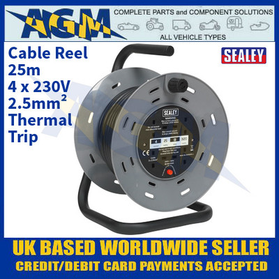 Sealey BCR2525 Cable Reel 25m 4 x 230V 2.5mm² Thermal Trip