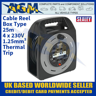 Sealey BCR25CB Cable Reel Box Type 25m 4 x 230V 1.25mm² Thermal Trip