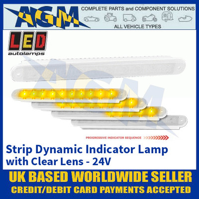LED Autolamps 235 Series Progressive Strip Dynamic Indicator Lamp - Clear Lens - 24V