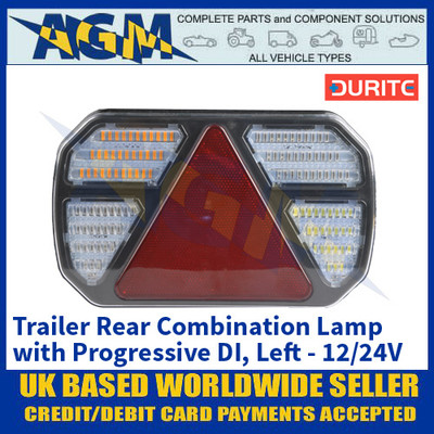 Durite 0-071-21 Trailer Rear Combination Lamp with Progressive Directional Indicator - Left Side - 12/24V