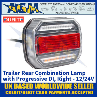 Durite 0-294-60 Trailer Rear Combination Lamp with Progressive Directional Indicator - Right Side - 12/24V
