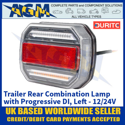 Durite 0-294-61 Trailer Rear Combination Lamp with Progressive Directional Indicator - Left Side - 12/24V