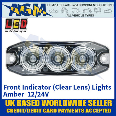 LED Autolamps 11CAT1M Front Indicator (Clear Lens) Lights Amber - Low Profile - 12/24V