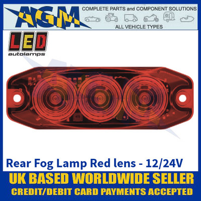 LED Autolamps 11FM Rear Fog Lamp Red Lens - Low Profile - 12/24V