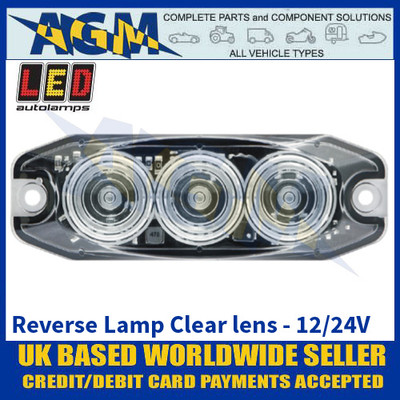 LED Autolamps 11WM Reverse Lamp Clear Lens - Low Profile - 12/24V