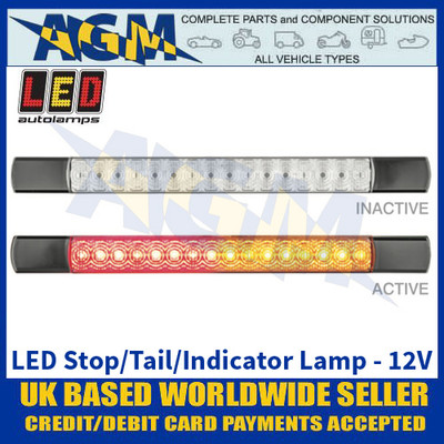 LED Autolamps 285BAR12 LED Stop/Tail/Indicator Lamp - Black Caps - 12V