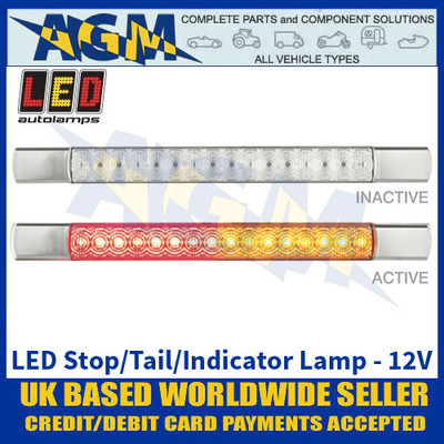 LED Autolamps 285CAR12 LED Stop/Tail/Indicator Lamp - Chrome Caps - 12V