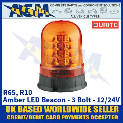 Durite 0-445-27 R65 R10 Amber LED - 3-Bolt Fix Beacon - 12/24V