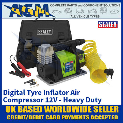 Sealey MAC05D, Digital Tyre Inflator Air Compressor 12V - Heavy Duty