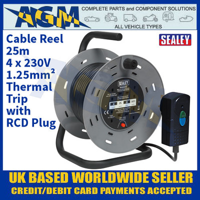 Sealey BCR25RCD Cable Reel 25m 4 x 230V 1.25mm² Thermal Trip with RCD Plug
