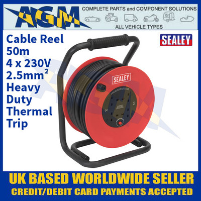 Sealey CR25025 Cable Reel 50m 4 x 230V 2.5mm² Heavy-Duty Thermal Trip