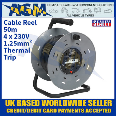 Sealey BCR50 Cable Reel 50m 4 x 230V 1.25mm² Thermal Trip