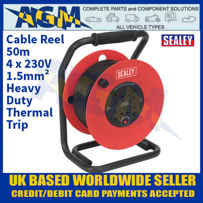 Sealey CR50/1.5 Cable Reel 50m 4 x 230V 1.5mm² Heavy-Duty Thermal Trip