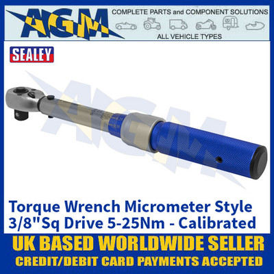 "Sealey STW902 Torque Wrench Micrometer Style 3/8""Sq Drive 5-25Nm - Calibrated"