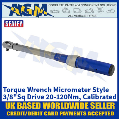 """Sealey STW903 Torque Wrench Micrometer Style 3/8""""Sq Drive 20-120Nm - Calibrated"""