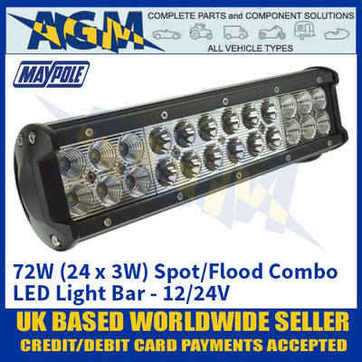 Maypole MP5072 72W (24 x 3W) Spot/Flood Combo LED Light Bar - 12/24V
