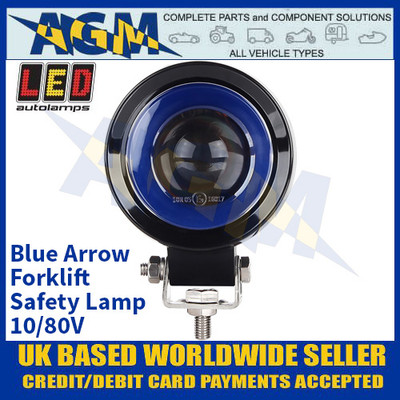 LED Autolamps FLBA01 Blue Arrow Forklift Safety Lamp - 10/80V