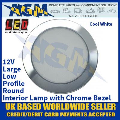 LED Autolamps 115096C-WW Large Low-Profile Round Interior Lamp, Chrome Bezel, 12V