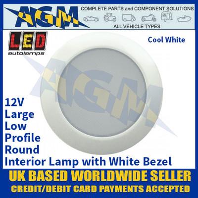 LED Autolamps 115096W Large Low-Profile Round Interior Lamp, White Bezel, 12V