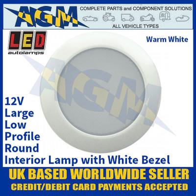 LED Autolamps 115096W-WW Large Low-Profile Round Interior Lamp, White Bezel, 12V