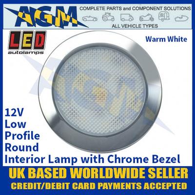 LED Autolamps 7515C-WW Low-Profile Round Interior Lamp, Chrome Bezel, 12V