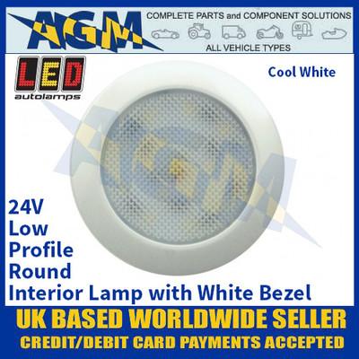 LED Autolamps 7515W24 Low-Profile Round Interior Lamp, White Bezel, 24V