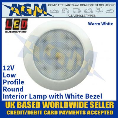 LED Autolamps 7515W-WW Low-Profile Round Interior Lamp, White Bezel, 12V