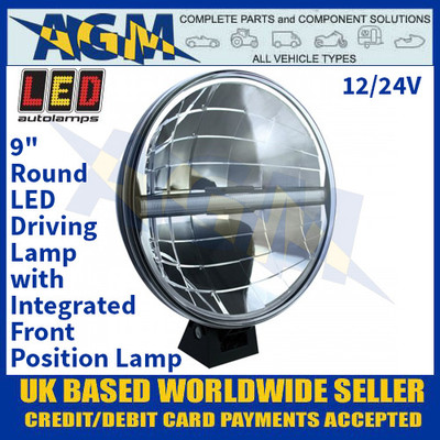 """LED Autolamps DL226 9"""" Round LED Driving Lamp with Integrated Front Position Lamp, 12/24V"""