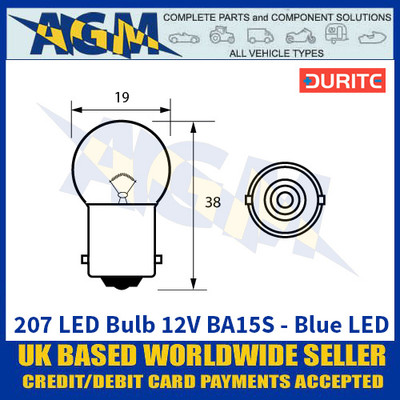 Durite 207 LED Bulb 12V BA15S - Blue LED - x2 Pack