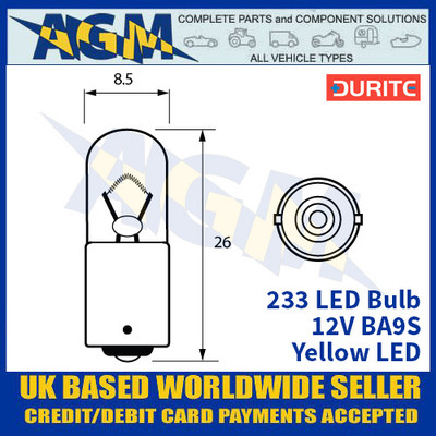 Durite 233 LED Bulb 12V BA9S - Yellow LED - x2 Pack