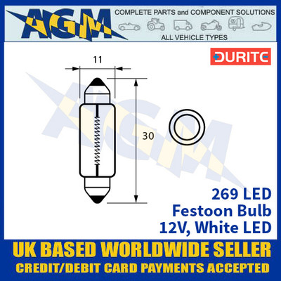 Durite 269 LED Bulb 12V Festoon - White LED - x2 Pack