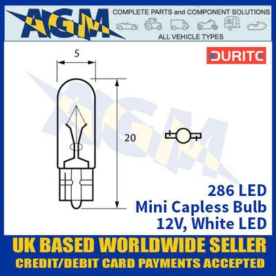 Durite 286 LED Bulb 12V Mini Capless - White LED - x2 Pack