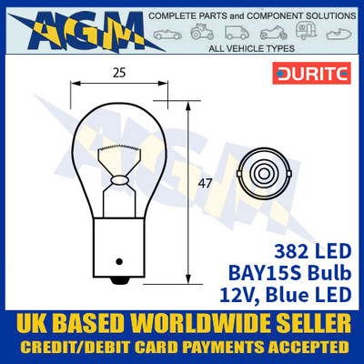 Durite 382 LED Bulb 12V BAY15S - Blue LED - x2 Pack