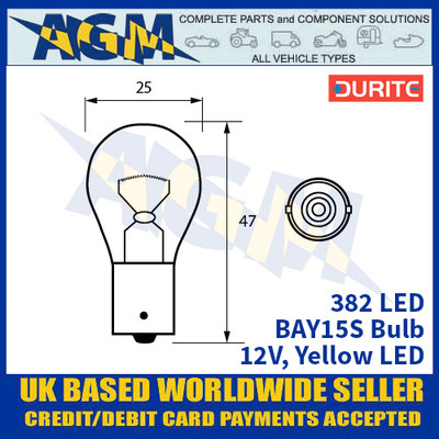 Durite 382 LED Bulb 12V BAY15S - Yellow LED - x2 Pack