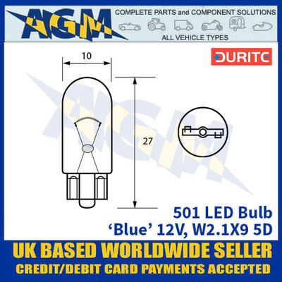 Durite 501 LED Bulb 12V W2.1X9 5D - Blue - x2 Pack