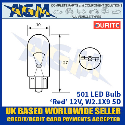 Durite 501 LED Bulb 12V W2.1X9 5D - Red - x2 Pack