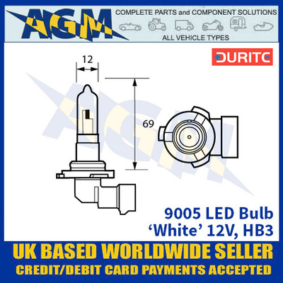 Durite 9005 LED Bulb 12V HB3 - White