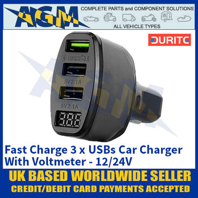 Durite 0-601-12 Fast Charge 3 x USBs Car Charger With Voltmeter - 12/24V