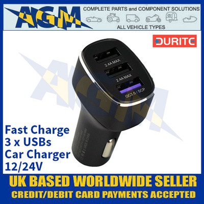 Durite 0-601-13 Fast Charge 3 x USBs Car Charger - 12/24V