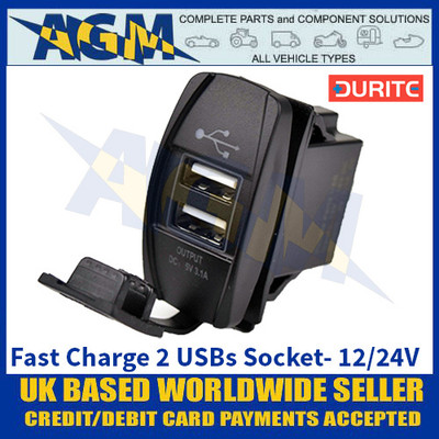 Durite 0-790-00 Fast Charge 2 USBs Socket- 12/24V