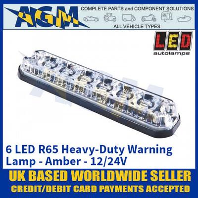 LED Autolamps 6 LED R65 Heavy-Duty Warning Lamp - Amber - 12/24V