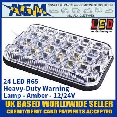 LED Autolamps 24 LED R65 Heavy-Duty Warning Lamp - Amber - 12/24V