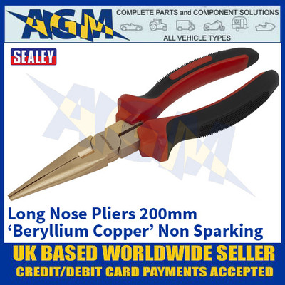 Sealey NS075 Long Nose Pliers 200mm 'Beryllium Copper' Non-Sparking