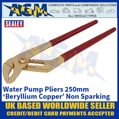 Sealey NS074 Water Pump Pliers 250mm 'Beryllium Copper' Non-Sparking